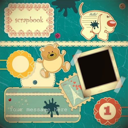 Scrapbook vintage design elements - vector illustration Vector
