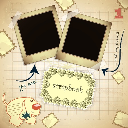 Vintage card with photo frame and  place for text - scrapbook style - vector illustration Vector