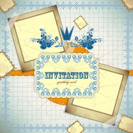 Vintage card with place for text - scrapbook style - vector illustration Vector