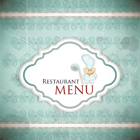 Restaurant menu design in vintage style - vector illustration Vector