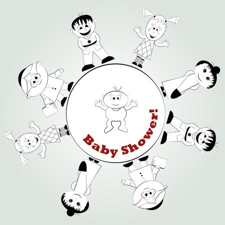 baby card - happy family - vector illustration Vector