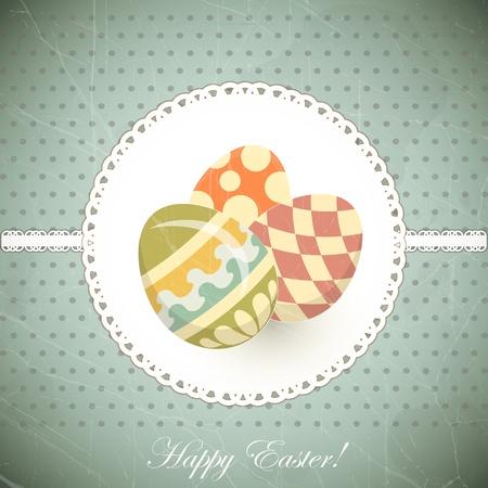 old postcard: Easter Eggs -  old postcard in vintage style - vector illustration Illustration