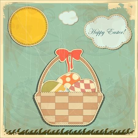 gift basket: Easter card in vintage style - basket of Easter eggs -  illustration