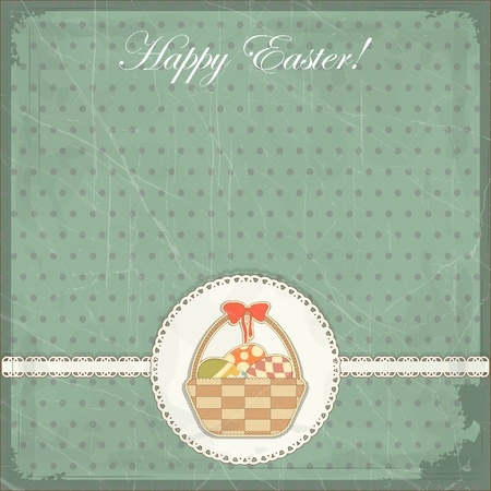 Easter card in vintage style - basket of Easter eggs -  illustration Stock Vector - 12004533