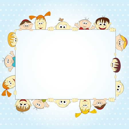 group of happy people holding empty banner - vector illustration Vector