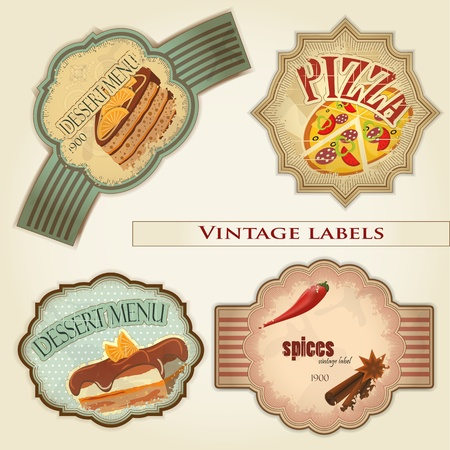 vintage food labels set - illustration Vector