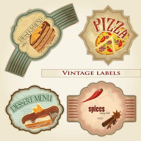 vintage food labels set - illustration Stock Vector - 12036023