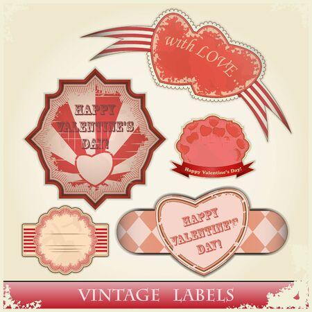 vintage love labels set for Valentines Day - illustration Vector