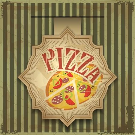 pepperoni pizza: Vintage card menu - pizza label