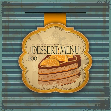 Vintage dessert menu card - label with cake - illustration Stock Vector - 12036029