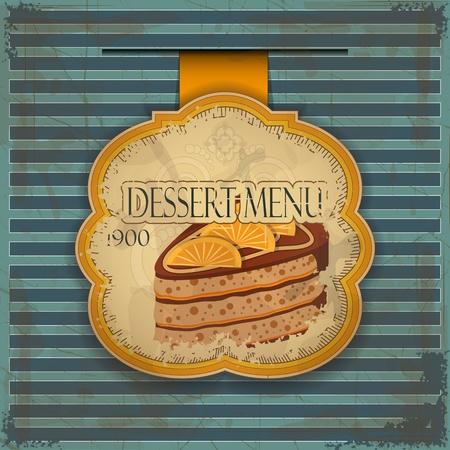dessert muffin: Vintage dessert menu card - label with cake - illustration