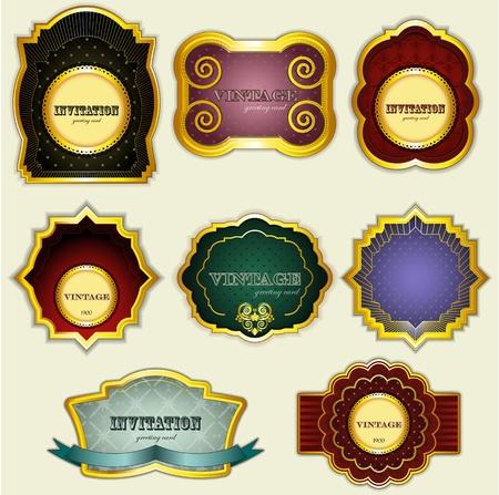 vintage gold  labels set - vector illustration Vector