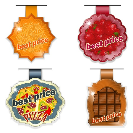 vector set - food lables best price on white background Vector