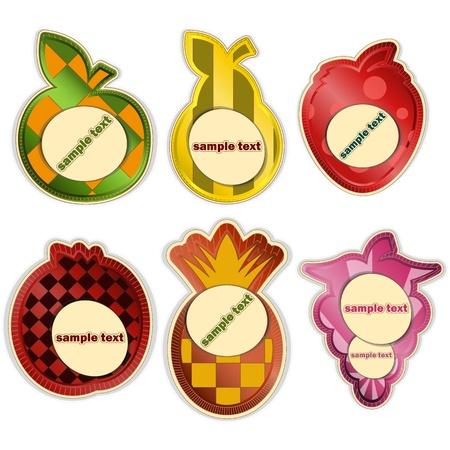 vector set - fruit labels on white background Vector