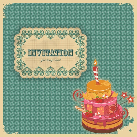 vintage postcard: Vintage birthday card with cake and retro label - vector illustration