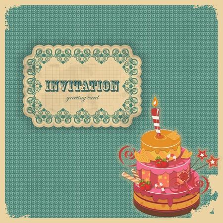 geburtstag rahmen: Weinlese-Geburtstagskarte mit Kuchen und Retro-Etikett - Vektor-Illustration