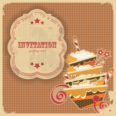 birthday cupcakes: Vintage birthday card with cake and retro label - vector illustration