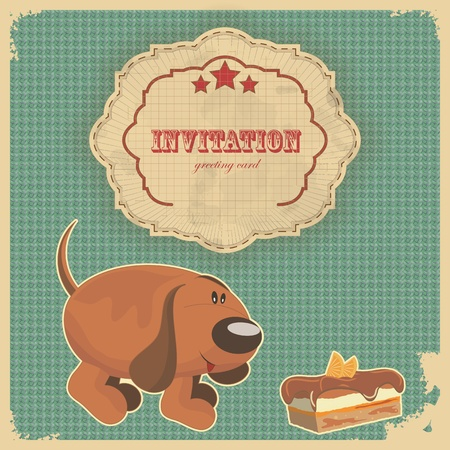Vintage birthday card with cake, dog and retro label - vector illustration Stock Vector - 12101189