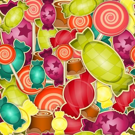 キャラメル: 色付きの背景の甘いキャンデーのシームレスなパターン ベクトル イラスト
