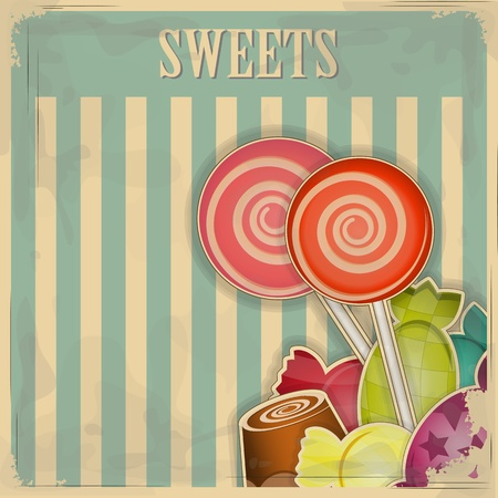 confection: vintage postcard - sweet candy on striped background - vector illustration