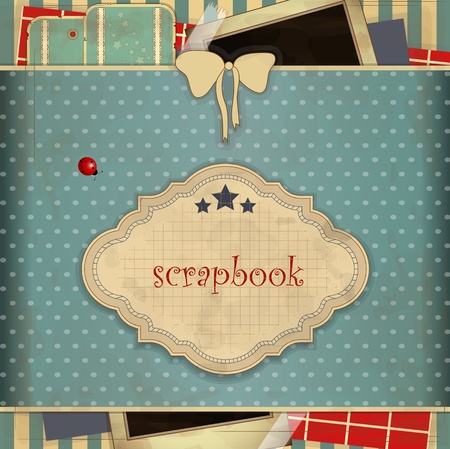 place for text: Abstract background with place for text  in scrapbooking style