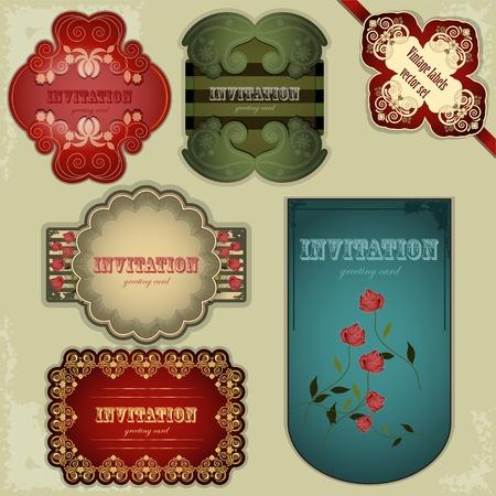 scrapbook cover: etiquetas conjunto vendimia - ilustraci�n vectorial Vectores