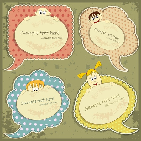 victorian woman: vintage labels set with people - vector illustration