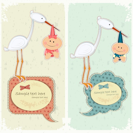 congratulations card: Baby postcard in vintage style - stork holding newborn - vector illustration