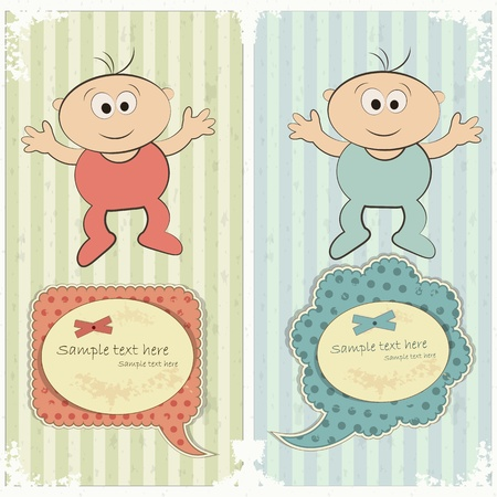 Baby postcard in vintage style - newborn boy and girl - vector illustration Vector
