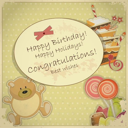 Vintage Birthday Card - with bear, candy and cake - vector illustration Vector