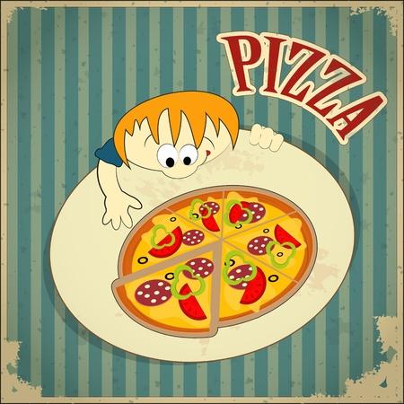 pizzeria label: Men� de la tarjeta del vintage - etiqueta de la pizza - ilustraci�n vectorial