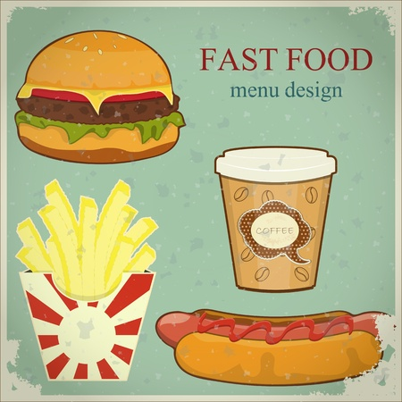 eating fast food: Vintage Fast Food Menu - the food on blue grunge background - vector illustration