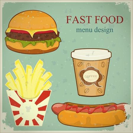 Menú Vintage Fast Food - la comida en el fondo del grunge azul - ilustración vectorial