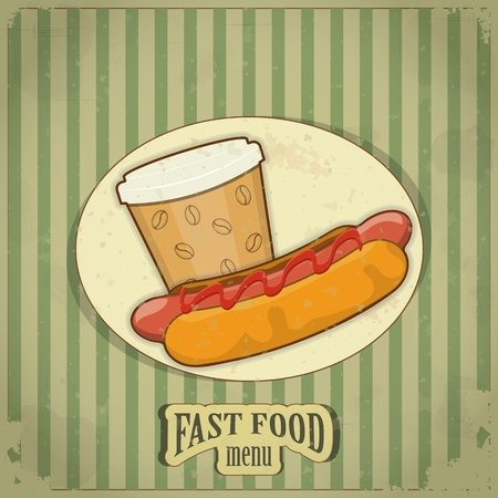 Vintage Fast Food Menu - the food on  grunge background - vector illustration Vector