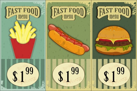 eating fast food: Vintage Fast Food Labels - the food on  grunge background - vector illustration