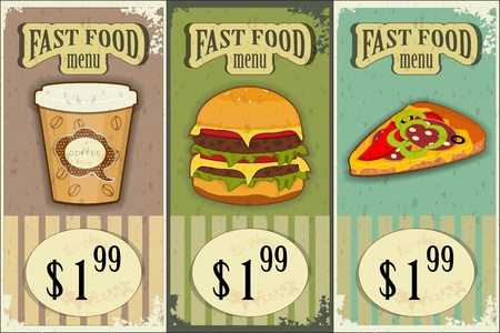 eating burger: Vintage Fast Food Labels - the food on  grunge background - vector illustration