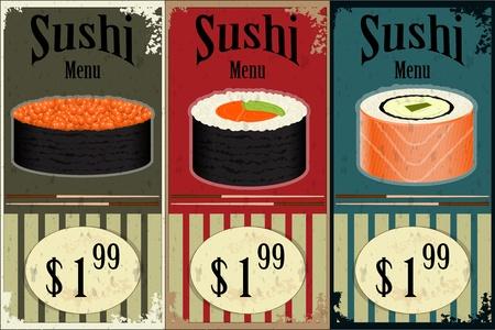 algas marinas: Vintage etiquetas Sushi - la comida en el fondo del grunge - ilustraci�n vectorial