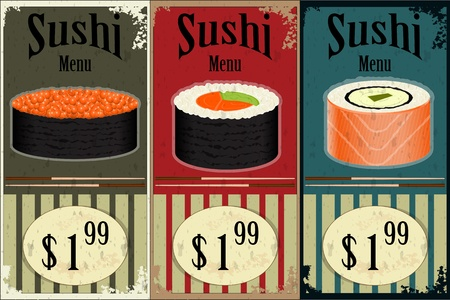 cuisine: Vintage Sushi Labels - the food on grunge background - vector illustration Illustration