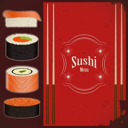 日本料理: ビンテージ寿司メニュー - グランジ背景に食品 - ベクトル イラスト  イラスト・ベクター素材