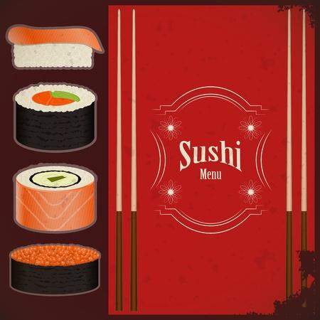 sushi: Vintage Sushi Menu - het voedsel op grunge achtergrond - vector afbeelding Stock Illustratie