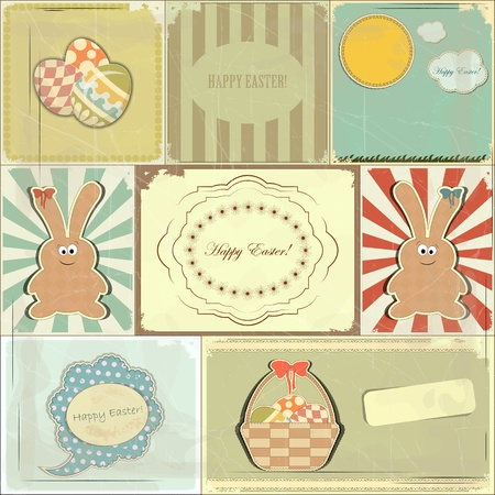 Easter card in vintage style - basket of Easter Eggs and Bunny - vector illustration Vector