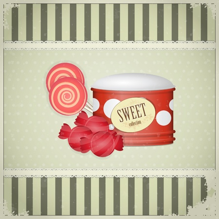 sugarplum: Vintage postcard - Sweet Candy on grunge background - vector illustration