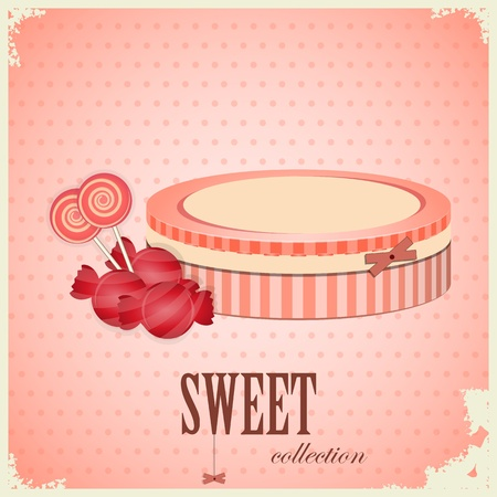 sugarplum: Vintage postcard - Sweet Candy on pink background - vector illustration Illustration