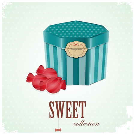 Vintage postcard - Gift Box and Sweet Candy on blue background - vector illustration Stock Vector - 12324704