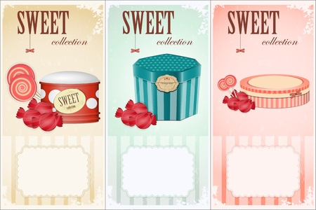 free vintage background: Sweet collection - price labels with place for text - vector illustration Illustration