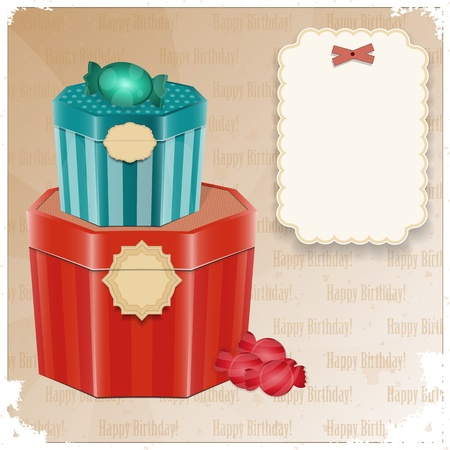 Vintage Birthday Card - gift box and  blank note - vector illustration Vector