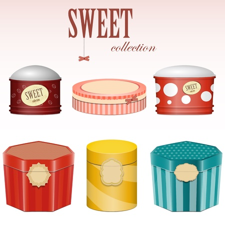 candy gift boxes with labels - vector set Vector Illustration