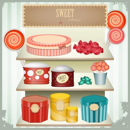 sweet shop: cosecha postal - dulces de tiendas, productos de confiter�a - ilustraci�n vectorial