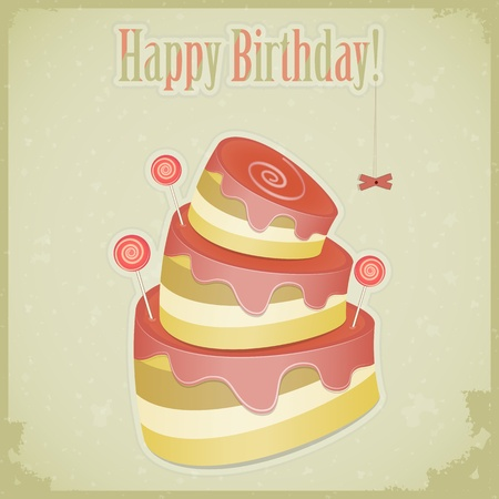 Vintage birthday card with cake - vector illustration Vector