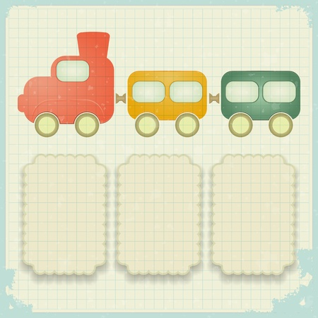 retro background with a toy train and place for text - vector illustration Vector